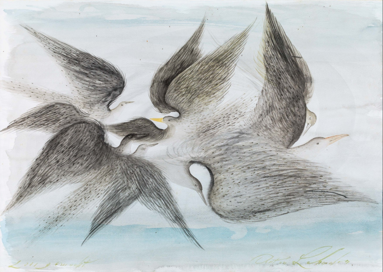 Anton Lehmden, Vogelflug , 2001, watercolor on paper, 30 × 42.6 cm