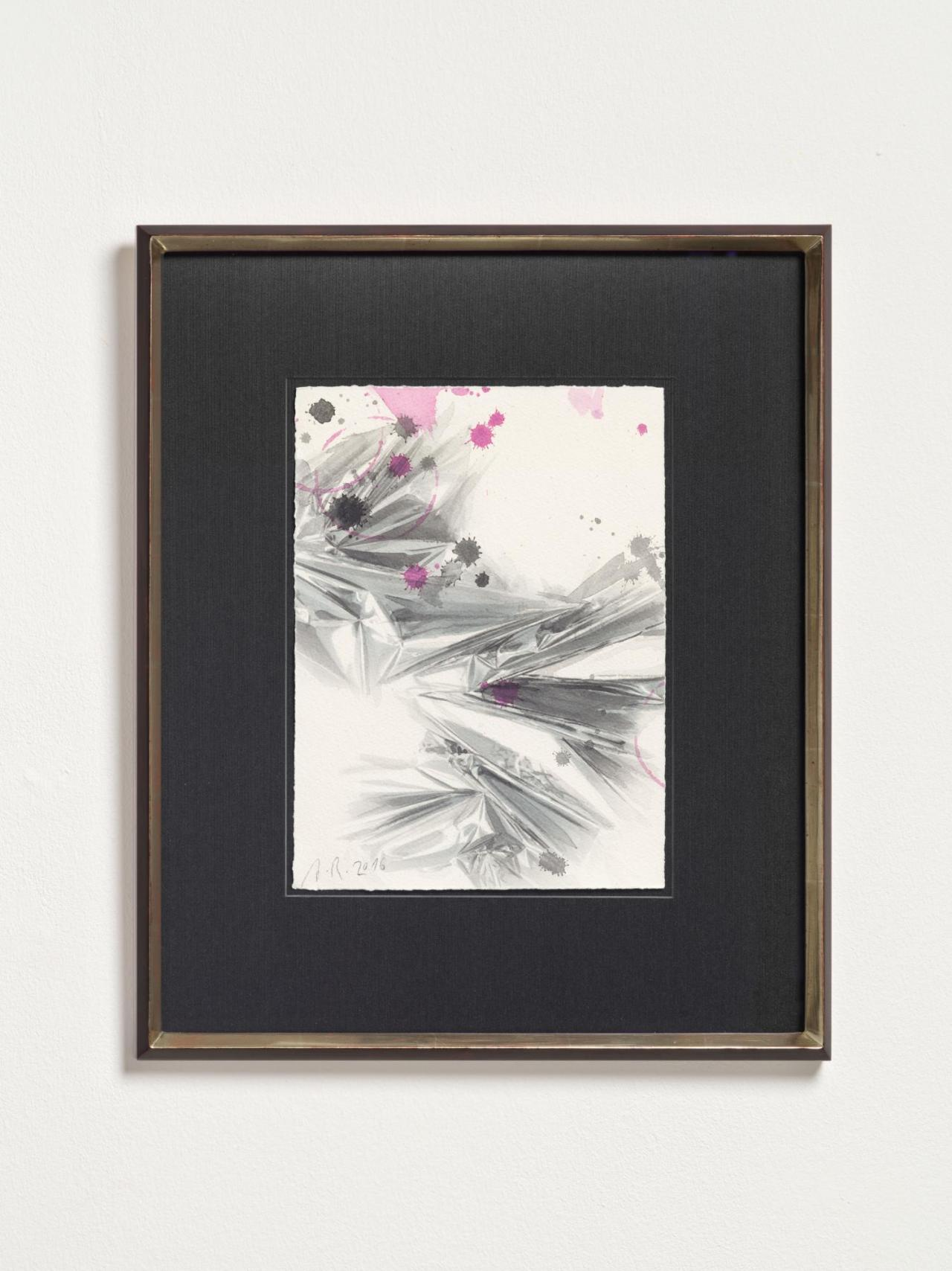 Anselm Reyle Untitled, 2016 watercolor, ink on paper, wooden frame with white gold 28.5 x 21 cm; 48.6 x 41.2 x 3 cm