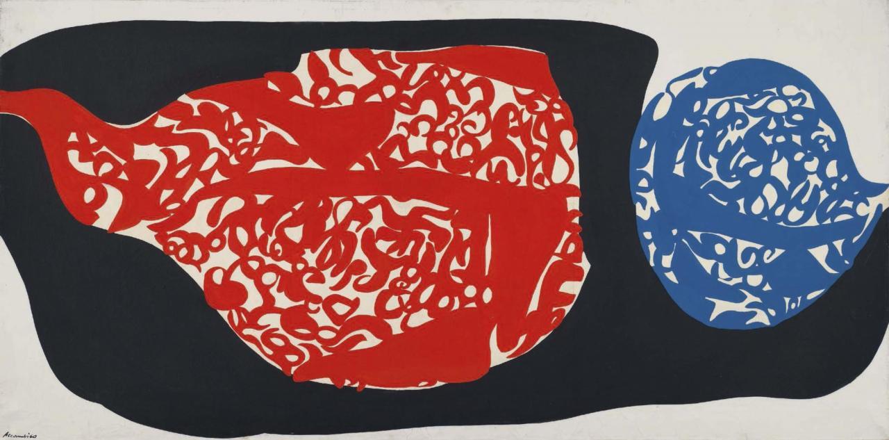 Carla Accardi, Opposizione arancio turchese, 1960 Casein tempera on canvas , 90 x 181 cm, Copyright VG BILD-KUNST Bonn, 2019, Courtesy Sammlung Goetz, München, photo Christie's