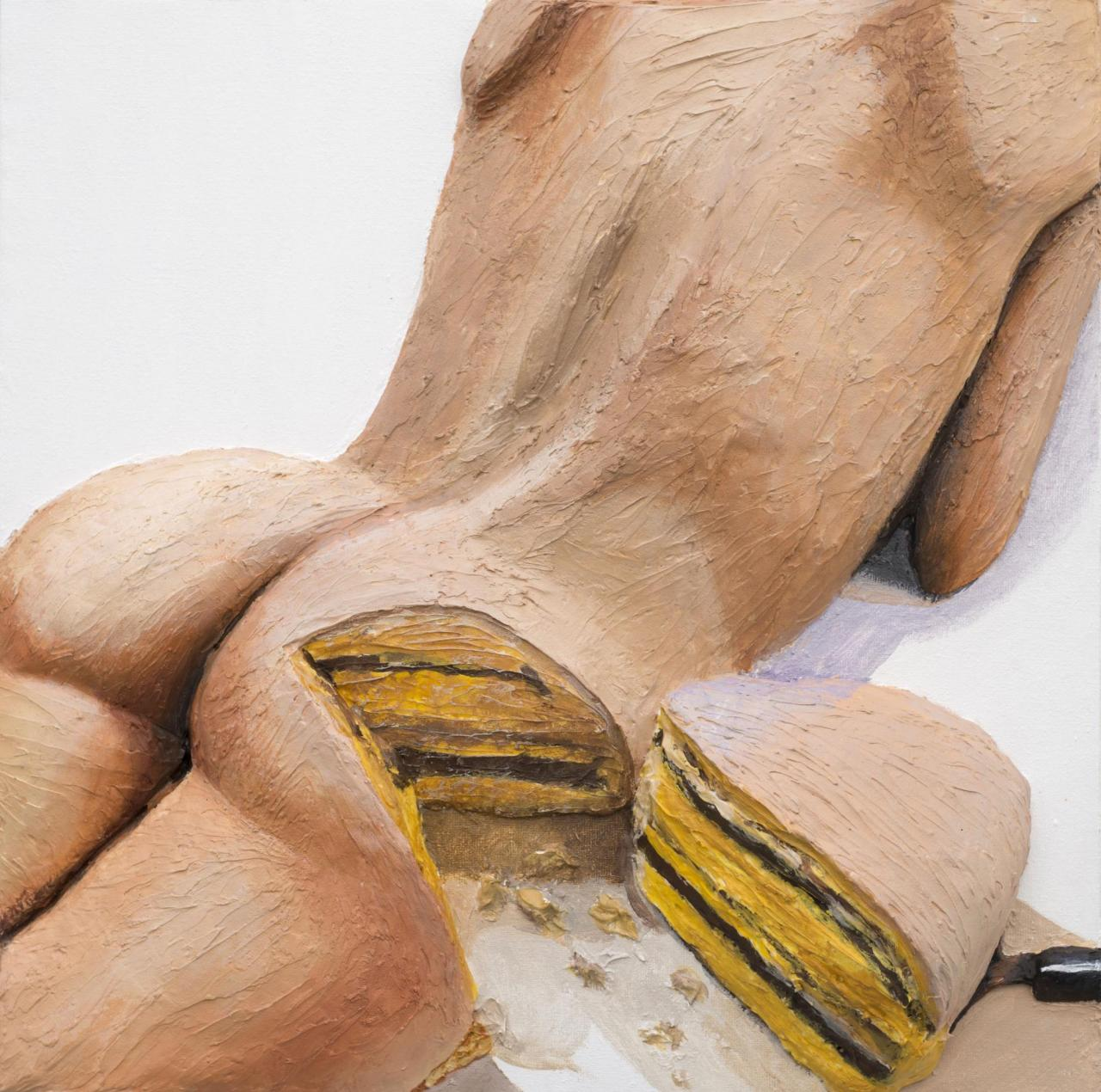 Cake , 2015 Acrylic and canvas on panel, 41 x 31 x 8 cm