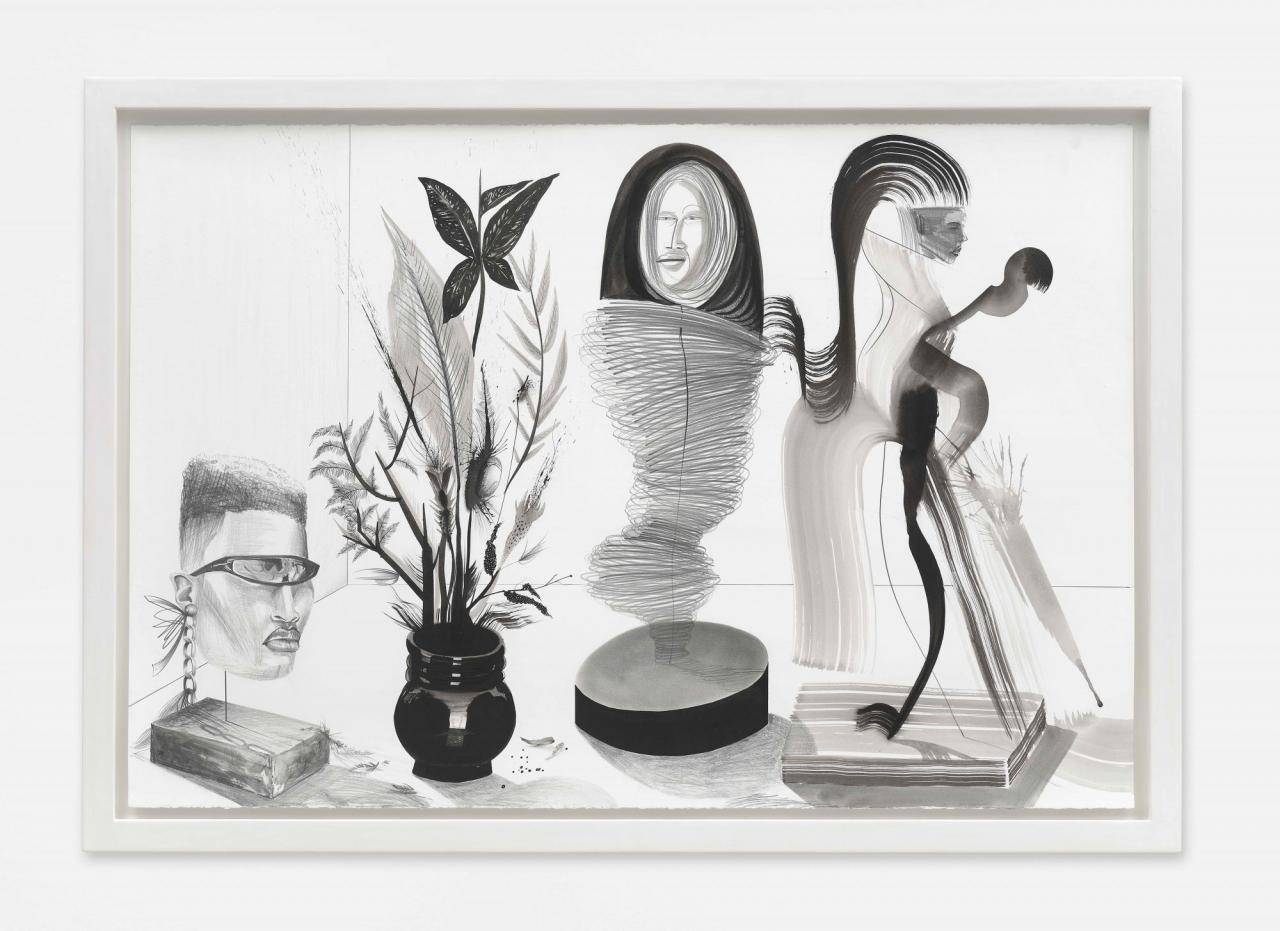 Dalton Gata, Esculturas I, 2020.Ink and graphite on paper, 76 x 112 cm