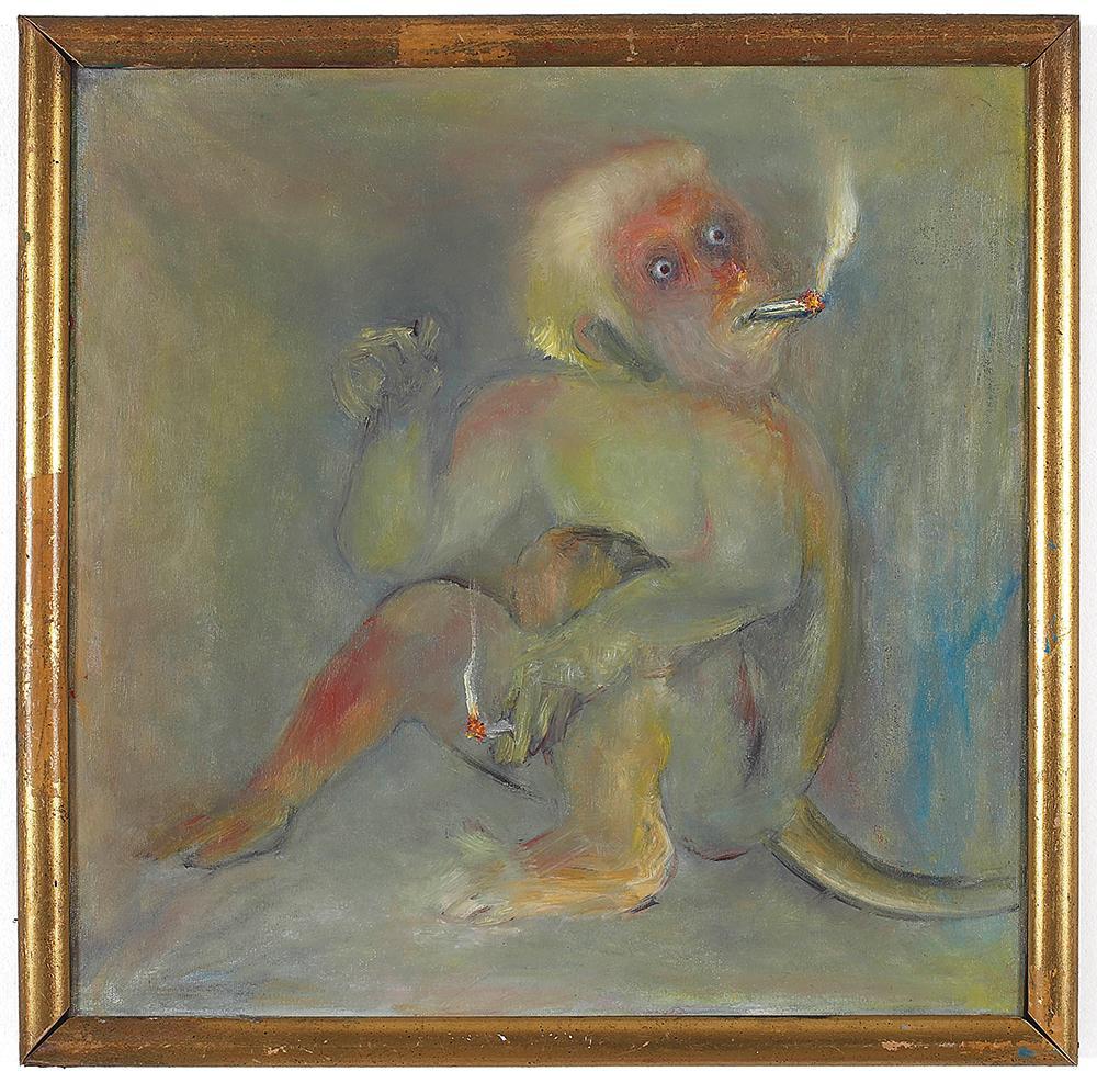 Monkey Smoking , 2007 Oil on canvas, 48 x 48 cm