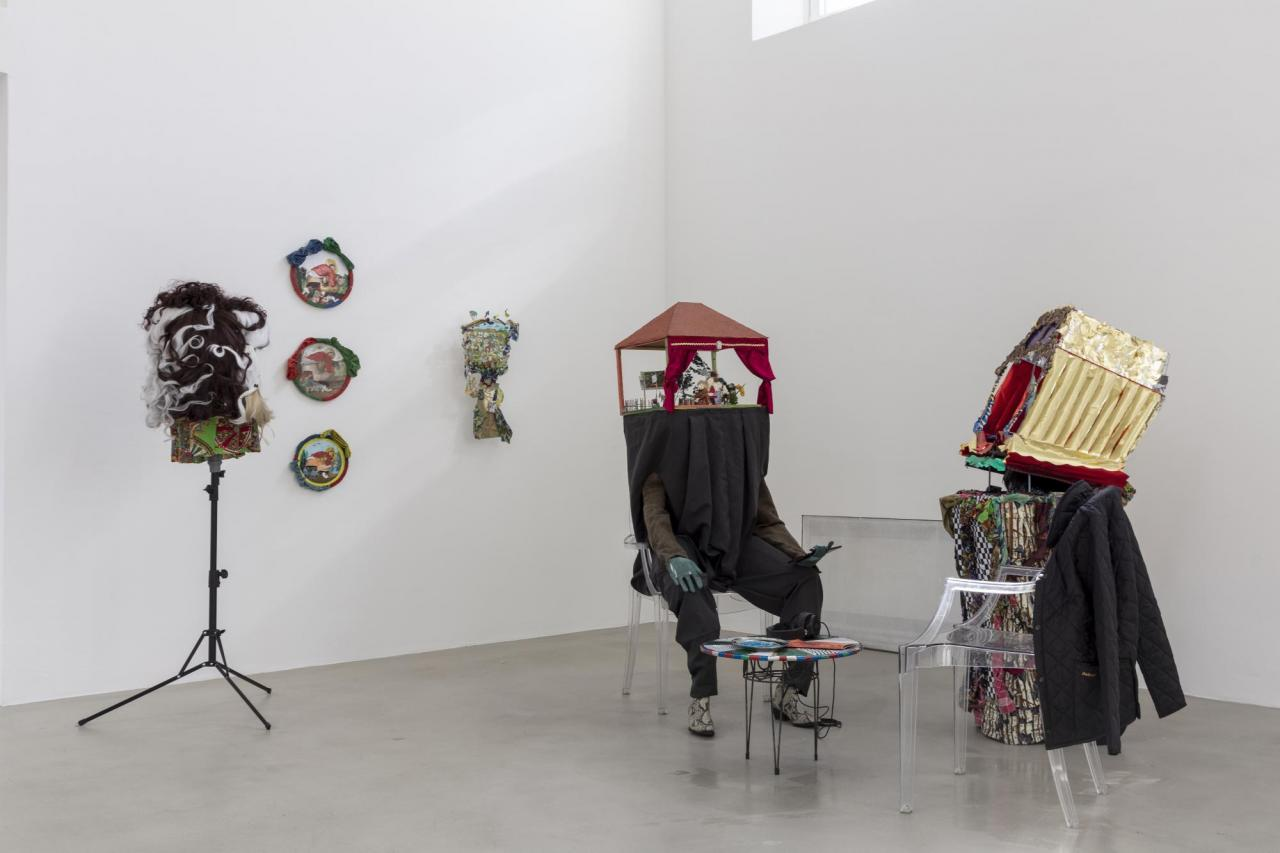 """IInstallation view, Laura Ziegler and Stephan Janitzky in """"Not Working – Artistic production and matters of class"""", Kunstverein München, 2020. Courtesy Kunstverein München e.V.; Photo: Sebastian Kissel"""