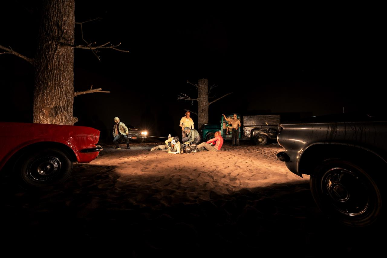 Edward Kienholz Five Car Stud , 1969–72 Installation view Fondazione Prada, Milan Photo: Delfino Sisto Legnani Studio Courtesy Fondazione Prada