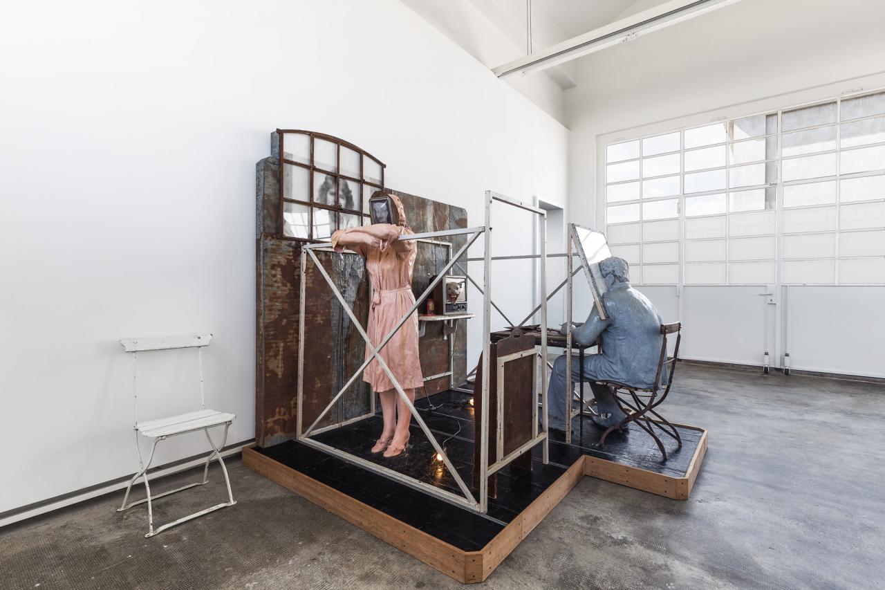 Edward & Nancy Reddin Kienholz Bout Round Eleven , 1982 Installation view Fondazione Prada, Milan Photo: Delfino Sisto Legnani Studio Courtesy Fondazione Prada