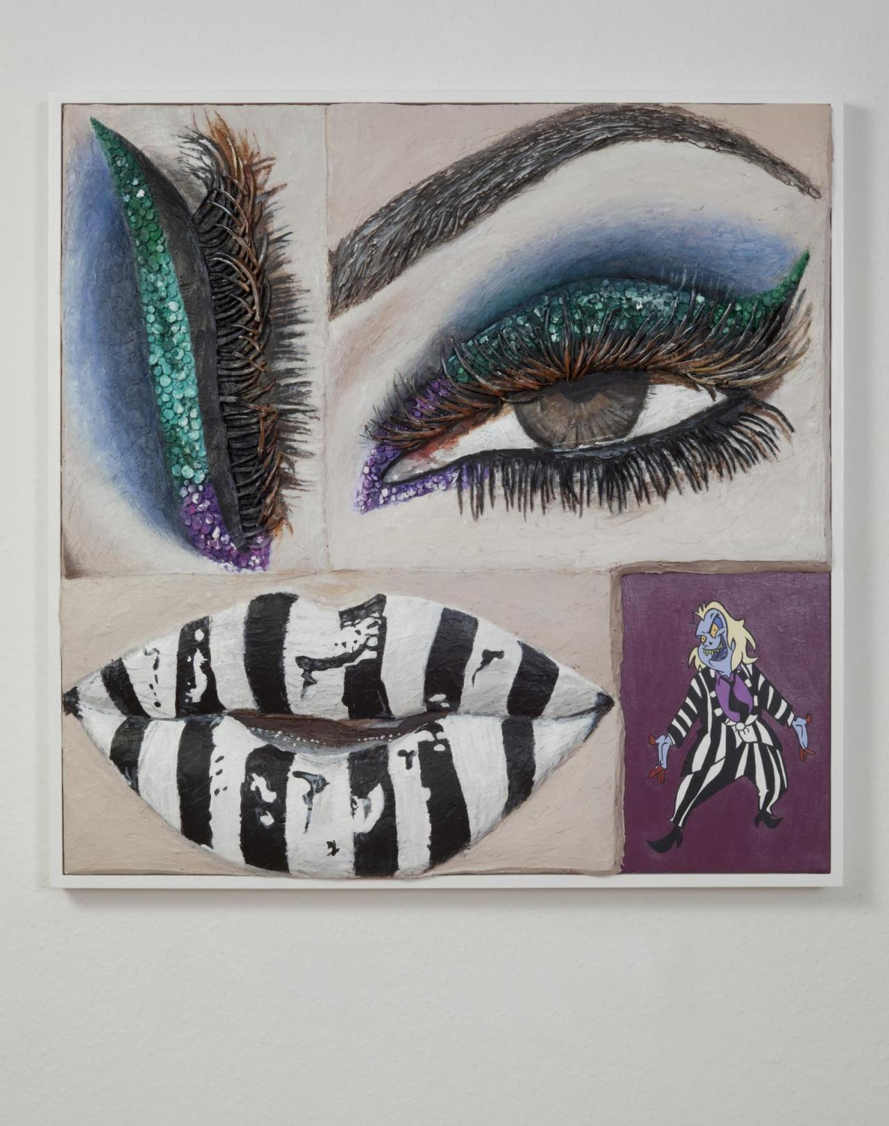 Beetlejuice Eye and Lip , 2017 Acrylic on canvas on panel with painted wood frame, 79 x 79 cm