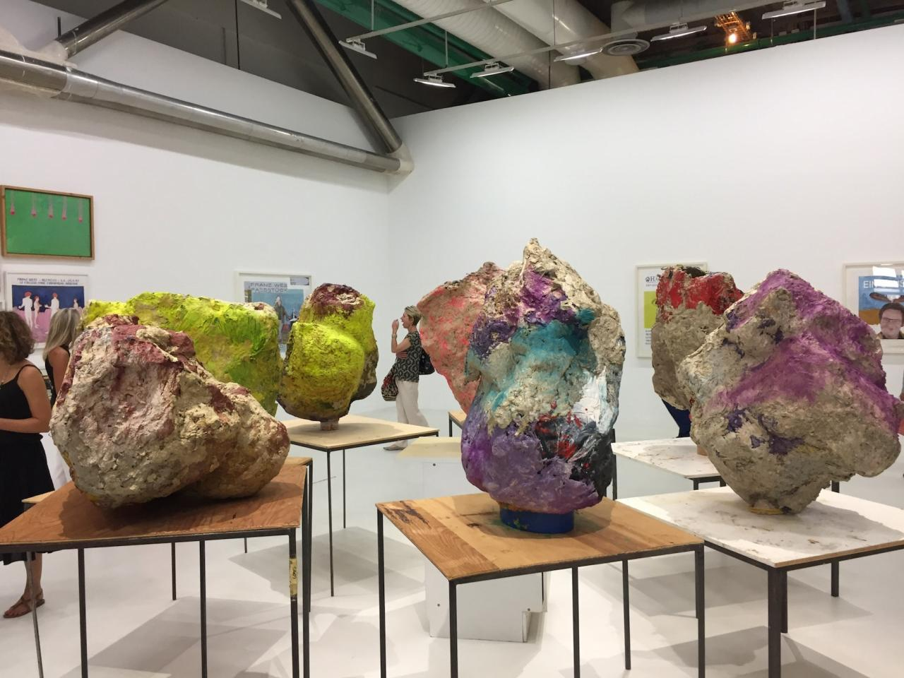 Franz West Gruppe mit Kabinett  (Group with Cabinet, 2001),papier-mâché, gauze, tables, set of eight sculptures, dimensions variable