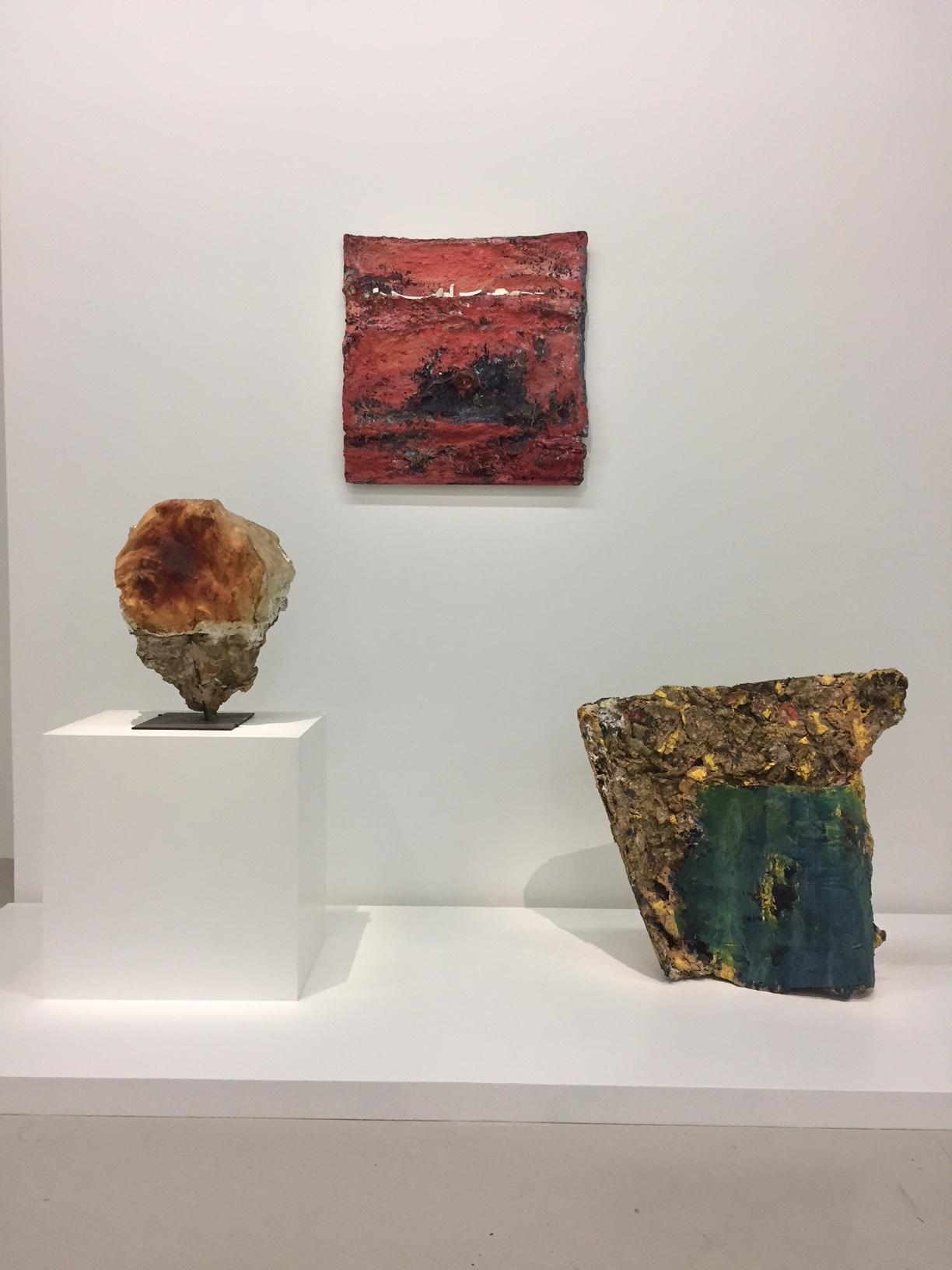 From left to right: collaborations with: Herbert Brandl, Albert Oehlen, and Herbert Brandl, titled  Ohne Titel  (1987),  Flatus vocis  (1991), Frucht ( Fruit, 1987), respectively.