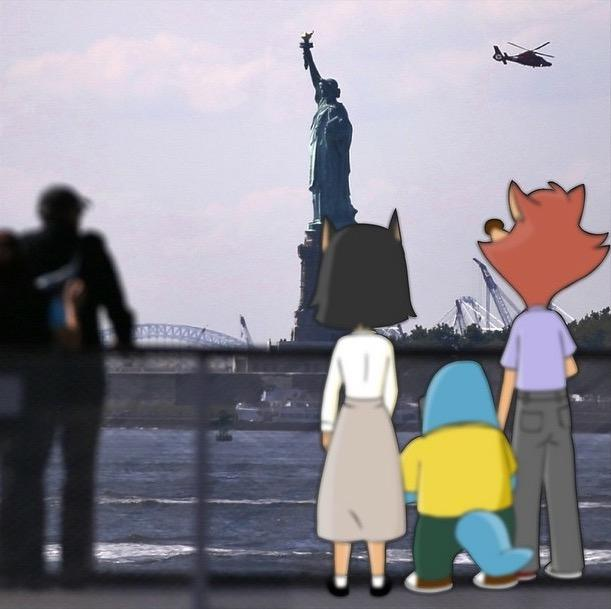 Artwork by Ed Fornieles showing Amalia, Dean and Ed passing through New York on their way to Los Angeles four years ago