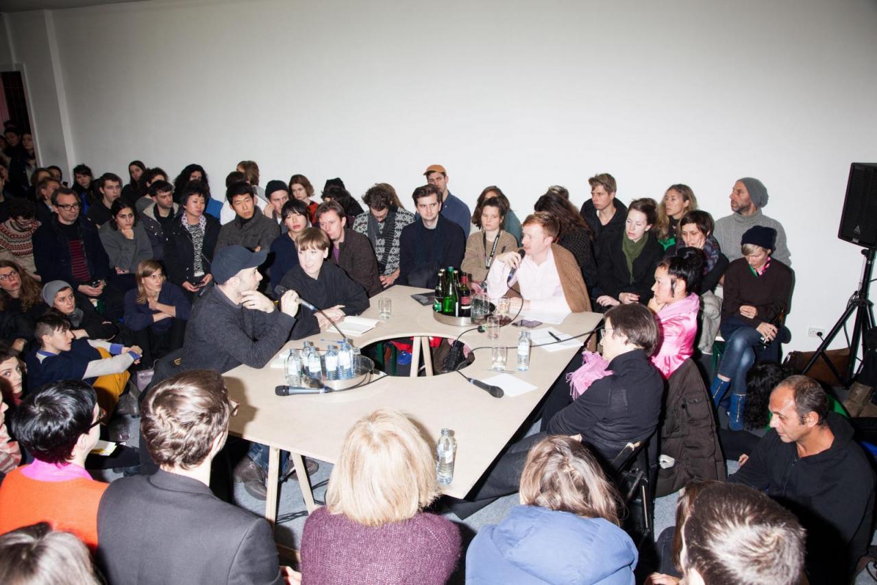 SPIKE BERLIN, 7:35 pm (from left to right):Marco Roso (DIS), Lauren Boyle (DIS), Kolja Reichert, Hito Steyerl, Susanne von Falkenhausen