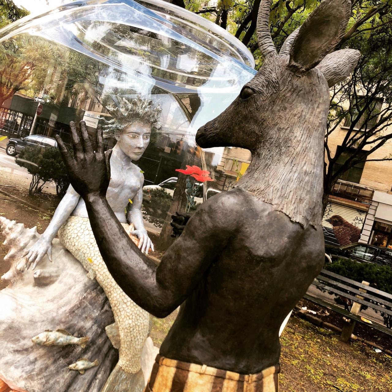 Chimeric sculpture by Kathy Ruttenberg, West 157th Street outside Boston Market