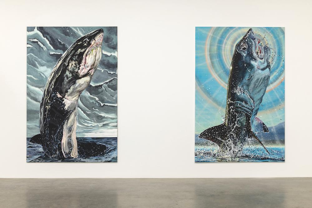 Installation view, Galerie Neu, Berlin, 2019 Left: Jana Euler,  GWF 8 , 2019 Oil on canvas, 300 x 200 cm Right: Jana Euler,  GWF 6 , 2019 Oil on canvas, 300 x 200 cm Photo: Dianna Pfammatter. Courtesy the artist and Galerie Neu, Berlin