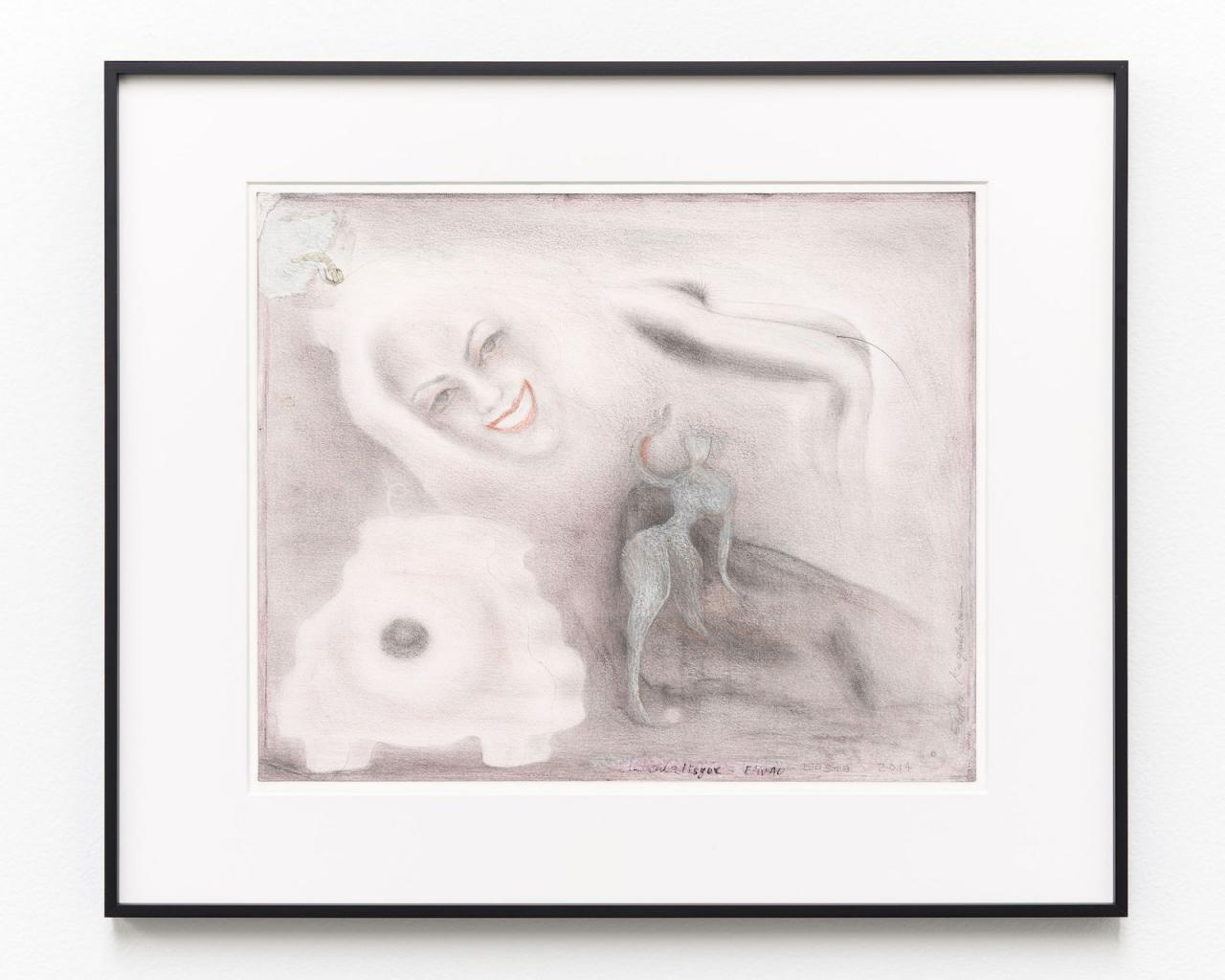 E'wao Kagoshima Odalisque  (2014) Mixed media on paper, framed 35.5 x 43 cm,  Courtesy Gregor Staiger ChertLüdde (Berlin), Misako & Rosen (Tokyo) and Gregor Staiger (Zurich) hosted by Union Pacific