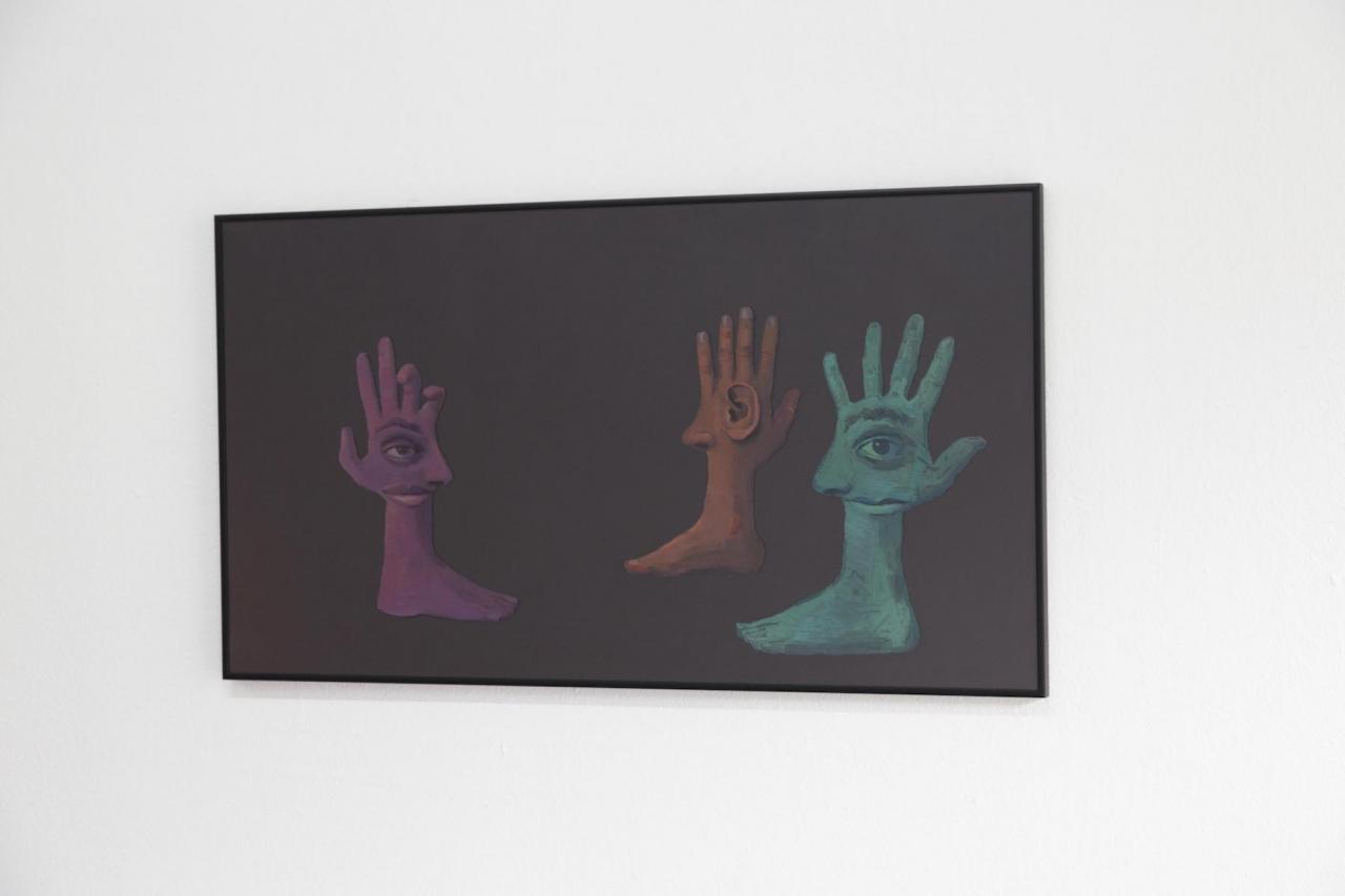 Lukas Posch Die Nerven (guests), 2017, Acrylic on glass, aluminium, wood, 46 x 82 cm