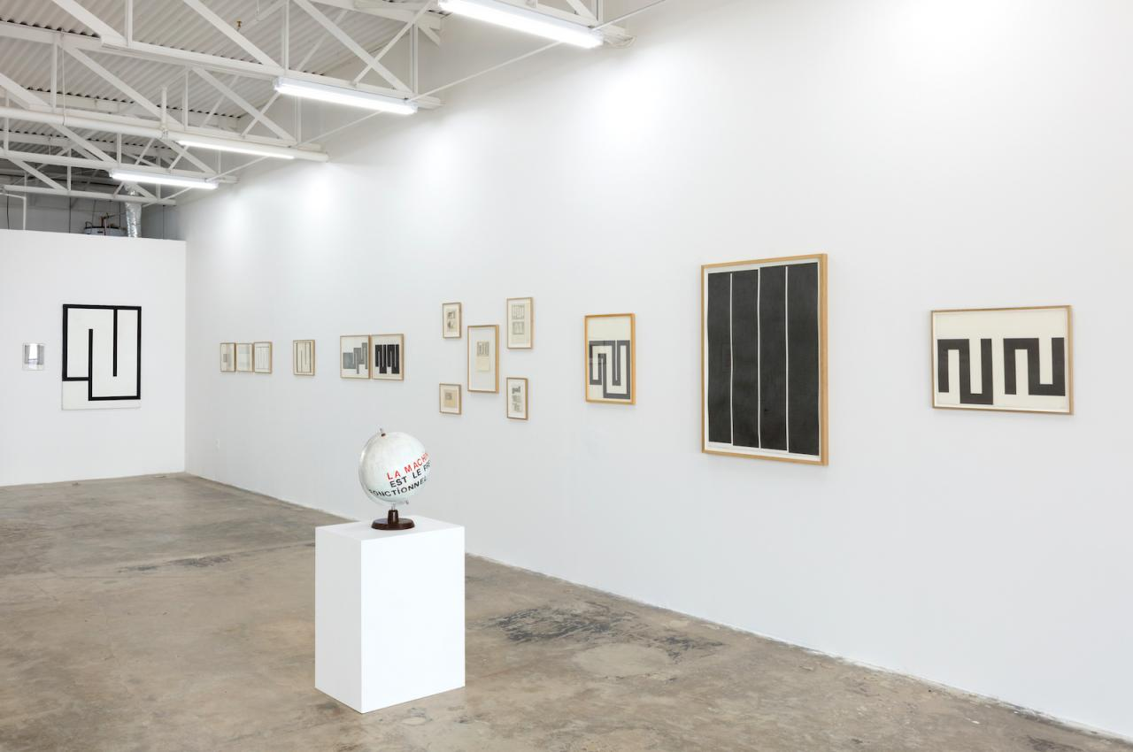 """Julije Knifer, Mangelos """"Investigating the Limits of Painting""""(2017), exhibition view atgalerie frank elbaz, Dallas, TX, USA Photo: Kevin Todora"""