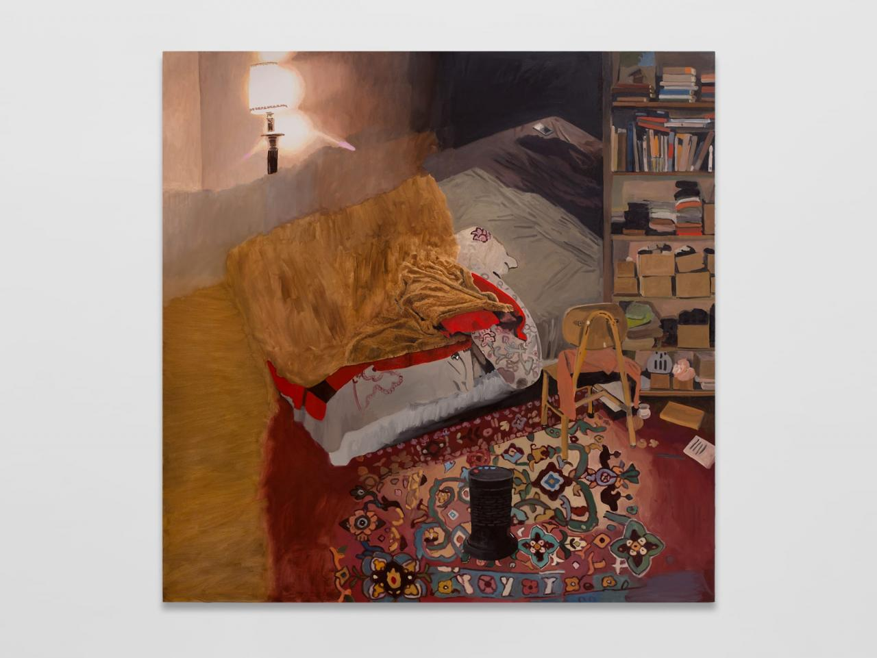 Bed , 2021, Oil on canvas, 177 x 177 cm