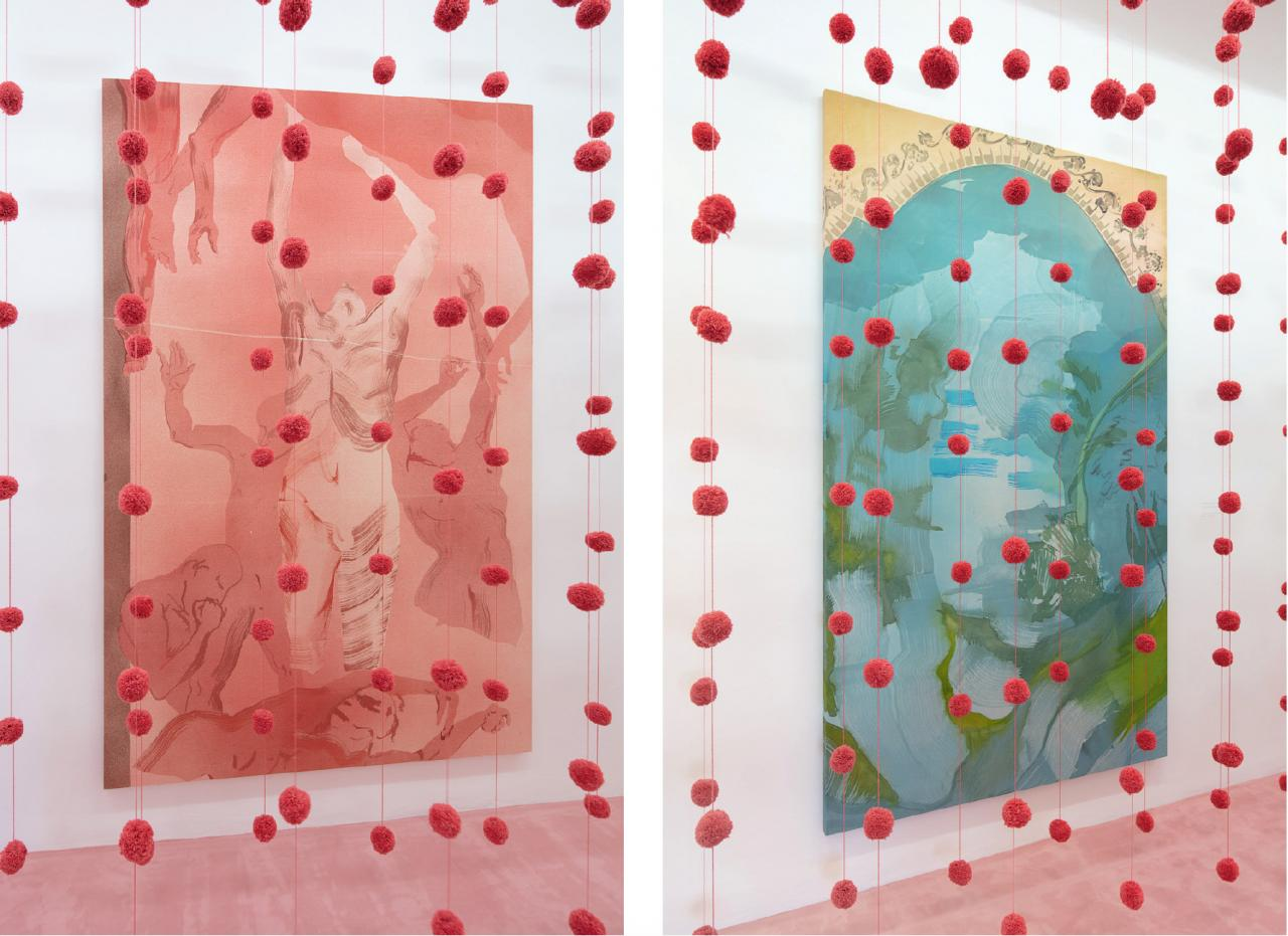 Left: An opening of the field , 2020, Wool; The Ray , 2019, Acrylic on canvas, 260 x 170 cm Right: An opening of the field , 2020, Wool; Lombardy Capriccio , 2020, Acrylic and charcoal on canvas, 150 x 255 cm