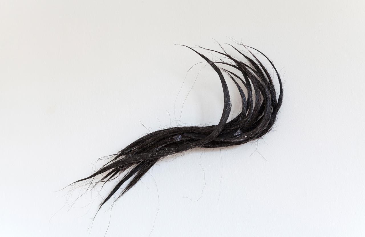 Untitled , Hair, glue,75 x 70 x 11 cm