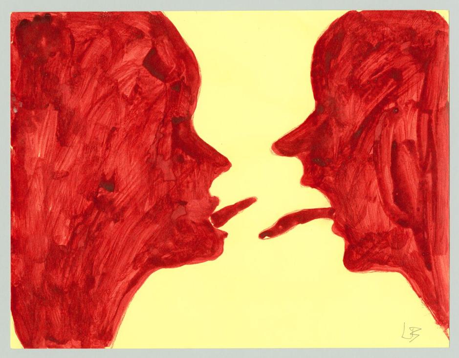 Louise Bourgeois, The Conversation (2007) Ink on paper 21.6 x 27.9 cm (c) The Easton Foundation / 2019, ProLitteris, Zurich Photo: Christopher Burke