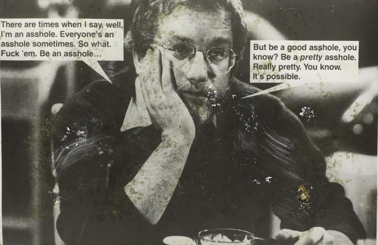 Jokes (Dreyfus) , 1988 Distressed photograph on aluminum 97 x 149 cm Courtesy of Ratio 3, San Francisco