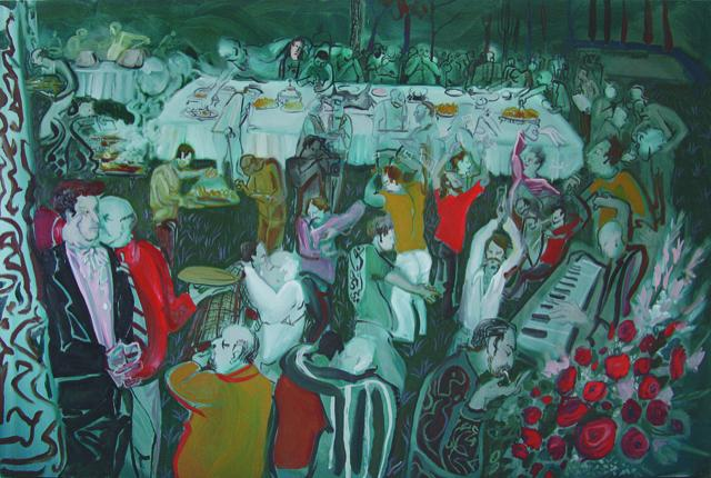 Rokni Haerizadeh, right panel of Typical Iranian Wedding (2008), diptych, oil on canvas, 200 x 300 cm