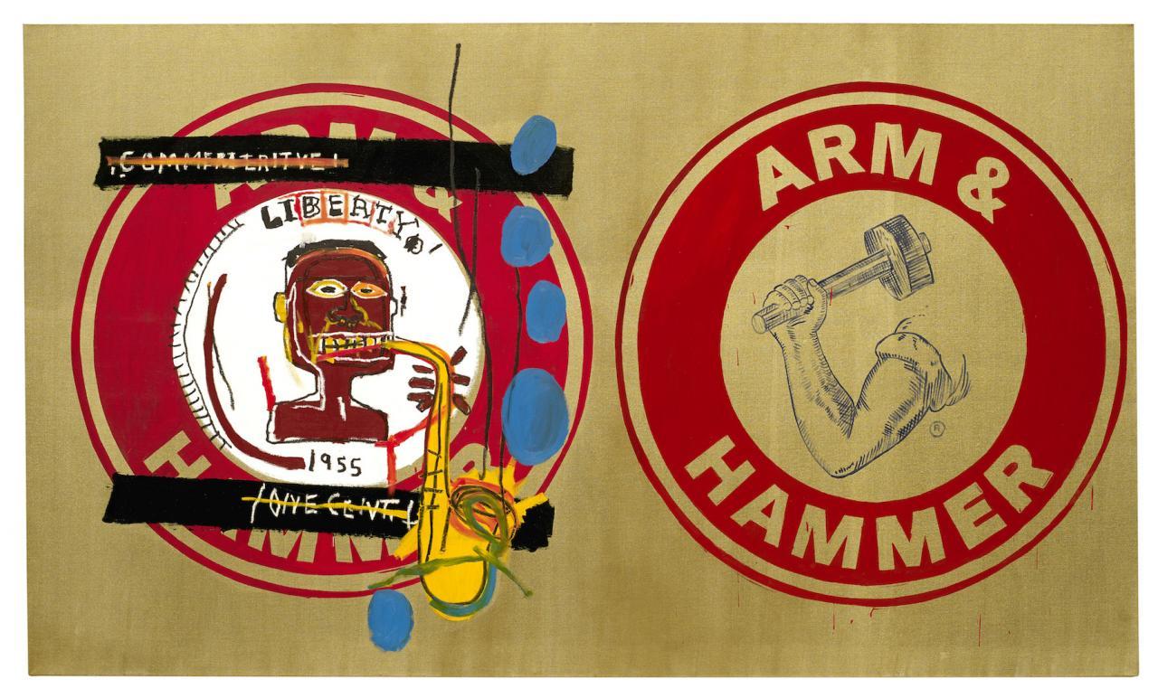 Jean-Michel Basquiat and Andy Warhol Arm and Hammer II (1984) Guarded by Bischofberger, Männedorf-Zurich,Switzerland, © VG Bildrecht Wien(2018) & The Estate of Jean-Michel Basquiat, Licensed by Artestar, New York, Courtesy GalerieBruno Bischofberger, Männedorf-Zurich, Switzerland