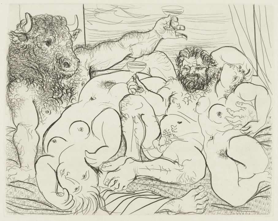 Bacchanal with Minotaur from the Vollard Suite , Pablo Picasso, 1933, published 1939, 34.2 x 45 cm, etching, Museum of Modern Art