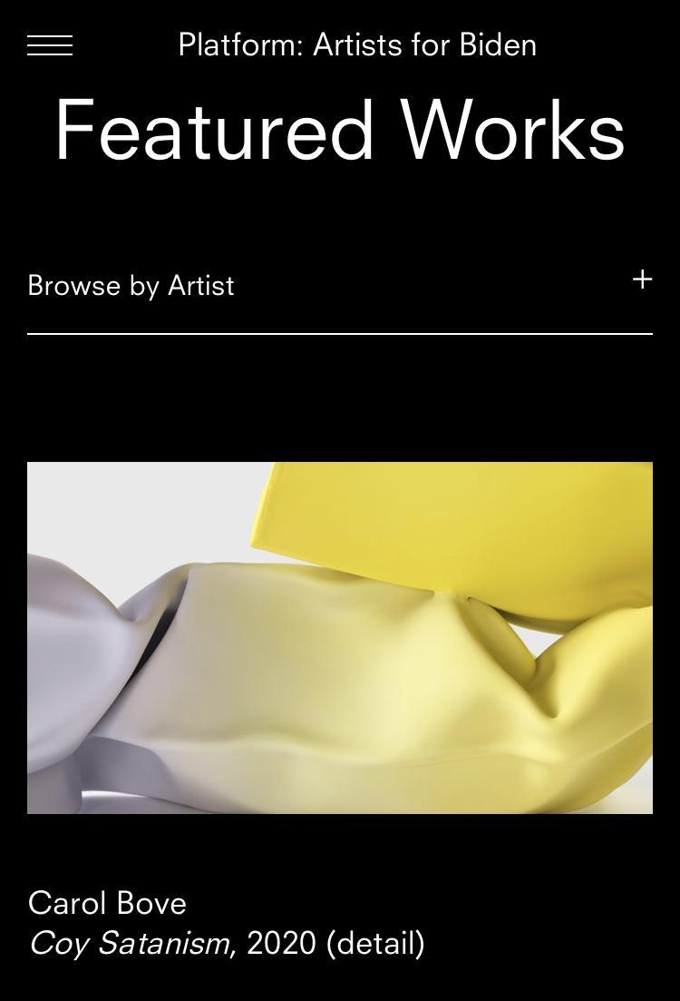 David Zwirner's Platform: Artists for Biden featuring Carol Bove, Coy Satanism , 2020.