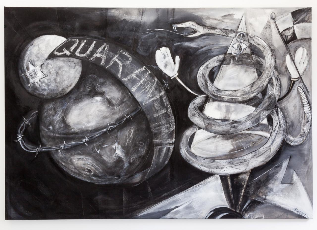 Quarantine Zone, 2016, Gesso and charcoal on canvas, 240 x 166 cm