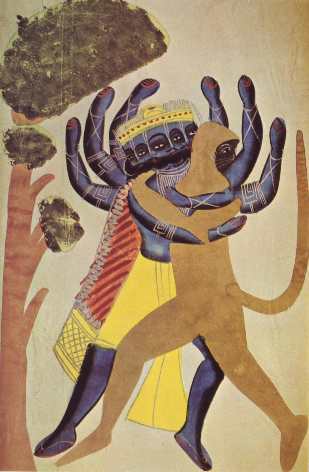 The Demon Ravana Fighting with the Ape Hanuman , 1880, Kalighat school