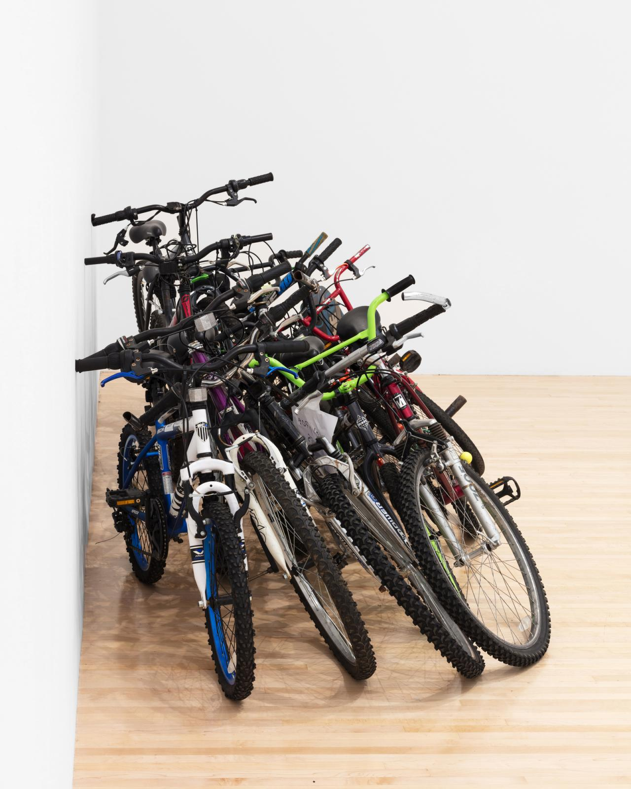 Cameron Rowland Group of 11 Used Bikes – Item: 0281-007089 , 2018 Group of 11 Used Bikes sold for $287 45 x 130 x 54 inches (114.30 × 330.20 × 137.16 cm) Rental at cost