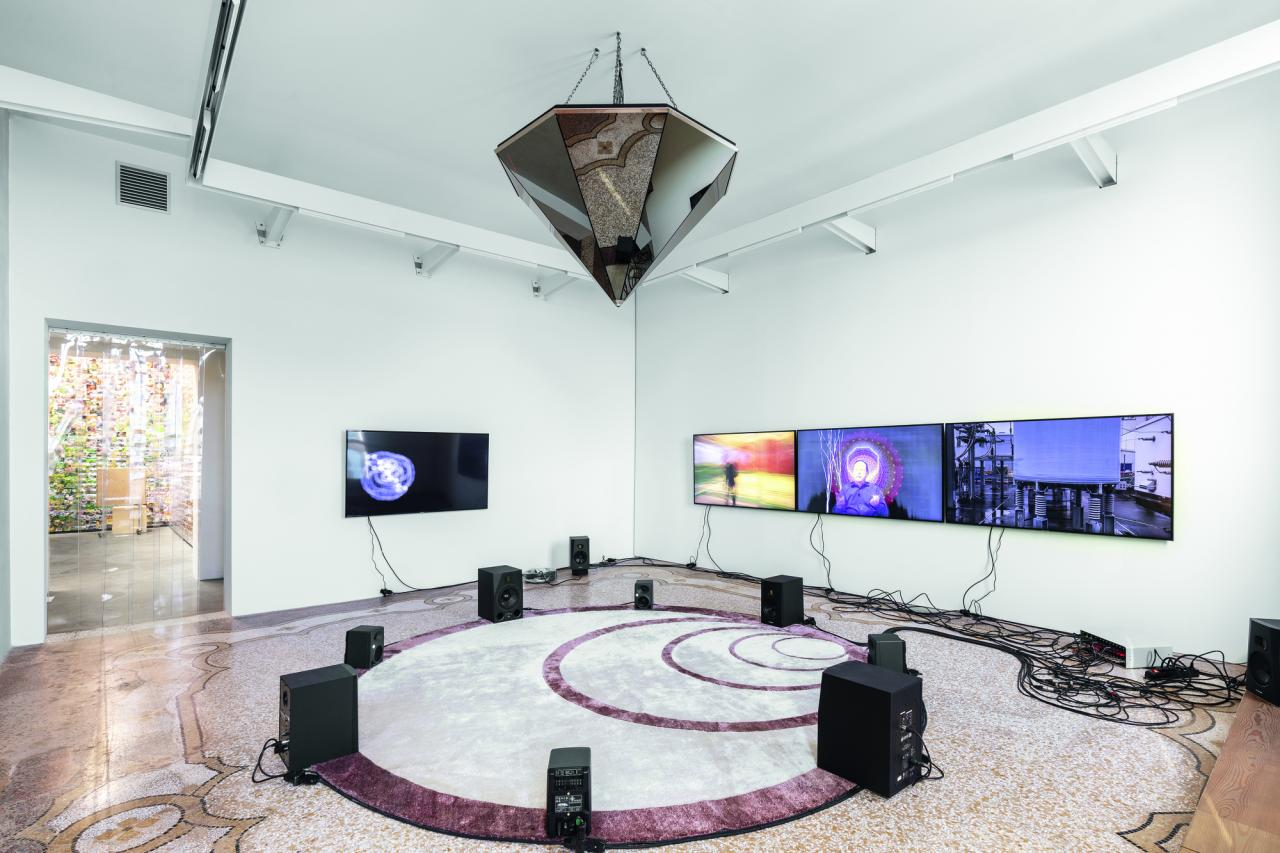 Haroon Mirza, Beyond the Wave Epoch , 2019 Multimedia installation