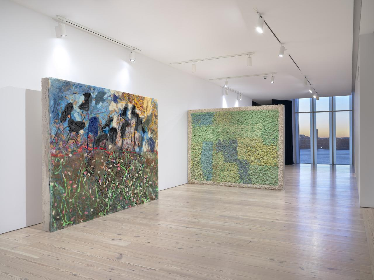 Installation view of  Kevin Beasley: A View of a Landscape  at the Whitney From left to right:  The Reunion , 2018;  Campus , 2018; Photo: Ron Amstutz