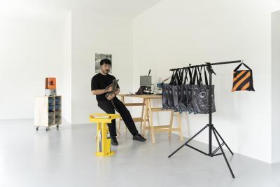 Toshiki in the studio.
