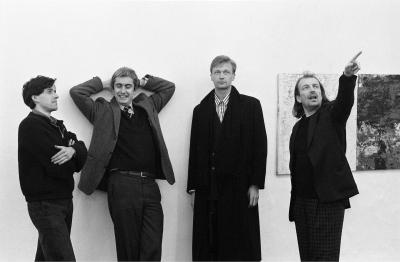 From left to right: Herbert Brandl, Peter Pakesch, Heimo Zobernig, Franz West, 1987