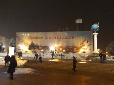 """Freedom is our religion"" hoarding/billboardon Kyiv'sMaidan Nezalezhnosti (Independence Square)"