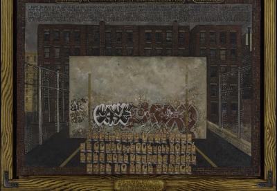 Martin Wong Attorney Street (Handball Court with Autobiographical Poem by Piñero), 1982–84 Oil on canvas