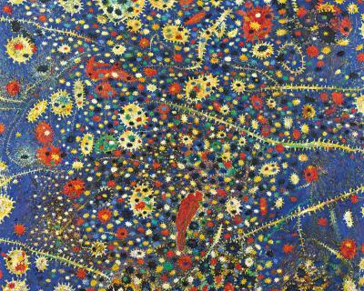 Blaufeldweltenflimmerflämmler,2006 Öl auf Leinwand 200 x 250 cm CourtesyGalerie Ernst Hilger, Wien