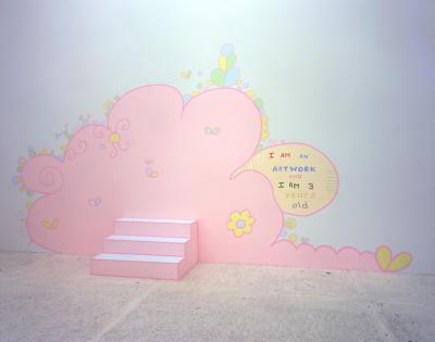 I am an artwork and I am 3 years old , 2004 Acrylic paint on wall and box Courtesy die Künstlerin und kaufmann repetto, Milan/New York