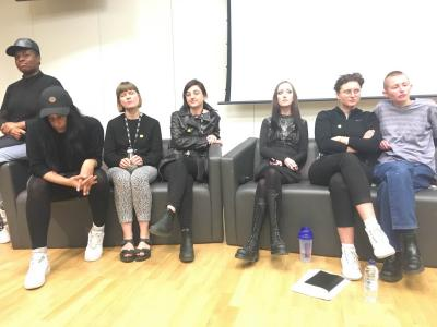 """Speakers at """"Finding the Body: The Last Transgression"""" Hannah Black, Evan Ifekmya, Cadence Kinsey, Patricia McCormack, Hannah Quinlan & Rosie Hastings, Guilia Smith"""