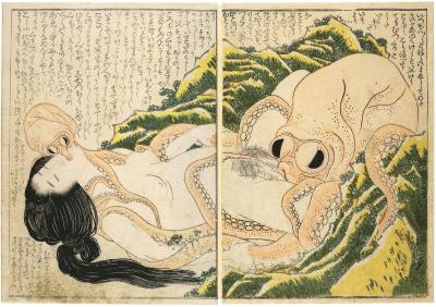Katsushika Hokusai, Tako to Ama (The Dream of the Fisherman's Wife),1814 Woodblock print, 19 x 27 cm