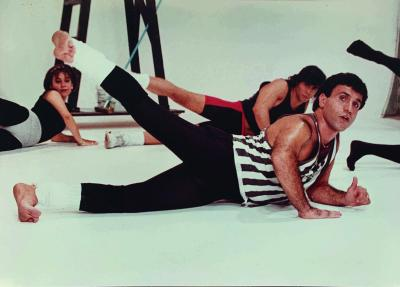 Still from Mohammad Khordadian's video work Warm Up & Persian Dancing #2 , 1987