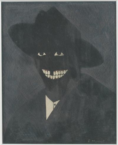 A Portrait of the Artist as a Shadow of His Former Self , 1980 Egg tempera on paper, 20 x 16.5 cm © Kerry James Marshall. Courtesy the artist and Jack Shainman Gallery, New York