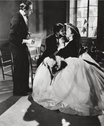 Set photo of Madame Bovary by Vincente Minnelli showing the filmmaker, Jennifer Jones and Louis Jourdan