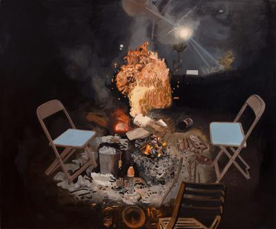 Fire , 2021, Oil on canvas, 177 x 213 cm All images courtesy White Cube