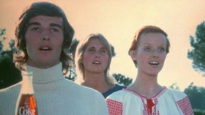 "Video still from Coca-Cola's 1971 commercial ""I want to teach the world to sing"""