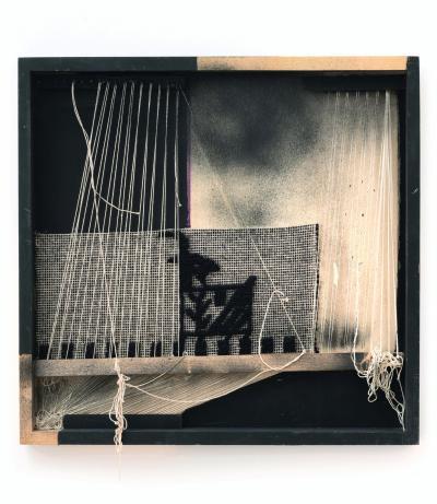 Maria Lai, Senza titolo ,2009 Wood, thread, paint, cloth, wool, nails, 52 x 54 x 5.5 cm