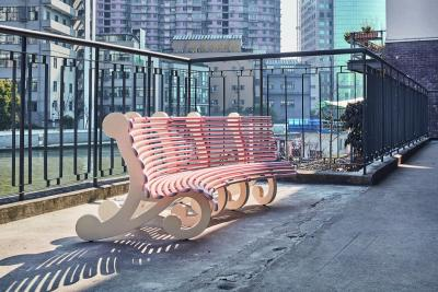 Nancy Lupo, Bench 2017 (pink concave) , 2018 Steel, rubber feet, and fluorocarbon metallic paint, 190 x 90 x 64 cm