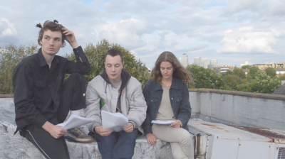 Paul Kneale Still from  SEO and Co , 2014 Digital video, 30 min., looped From left to right: Oscar Khan, Harry Burke, Nina Cristante