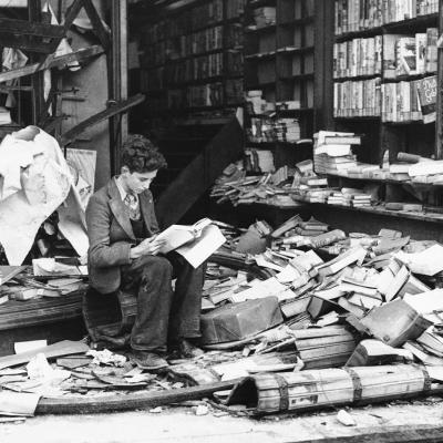 Young reader following the air raids in 1940, London